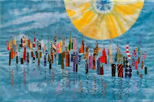 Second in a series of quilts based on my photo of abandoned dock pilings.