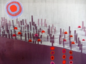 First in a series of art quilts based on a photo I took of abandoned dock pilings